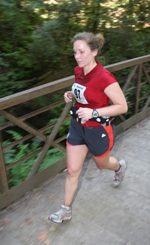 Amy running a 1/2 marathon